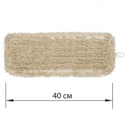Насадка МОП плоская для швабры/держателя 40 см, уши/карманы, нашивной хлопок